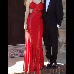 Faviana Dresses - Beautiful red sequined formal dress.